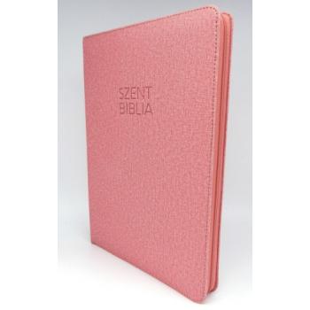 Nagy Biblia - Rose Textil Mintás - Cipzárral - Regiszterrel (index)  - Károli Gáspár fordítása