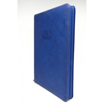 Nagy Biblia - Sötétkék - Cipzárral - Regiszterrel (index)  - Károli Gáspár fordítása